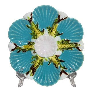 1880s George Jones Majolica Oyster Plate For Sale