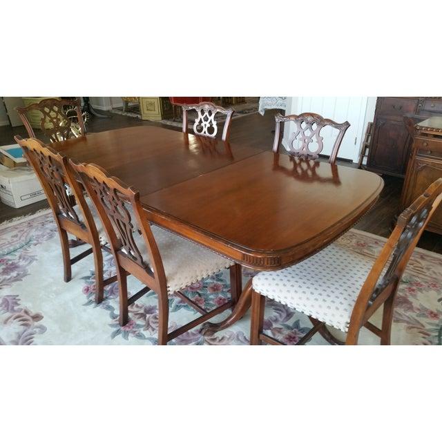 Brown Antique Bernhardt Dining Set For Sale - Image 8 of 9