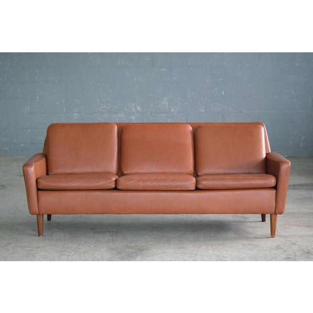 Mid-Century Modern Danish Mid-Century Sofa In Cognac Leather For Sale - Image 3 of 10