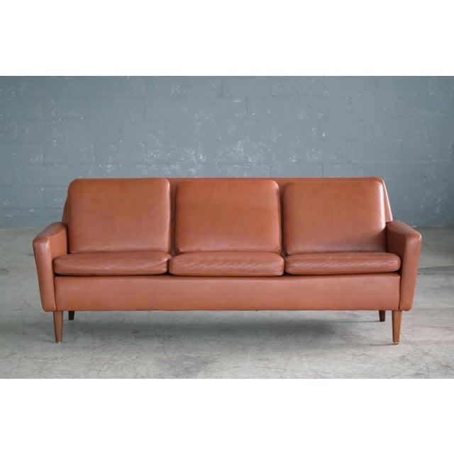 Danish Mid-Century Sofa In Cognac Leather - Image 3 of 10