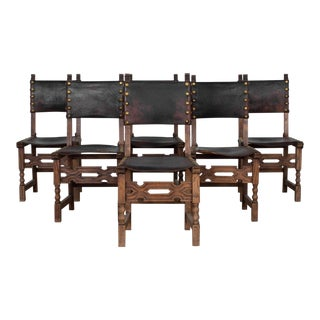 1940s Belgian Leather Dining Chairs - Set of 6 For Sale