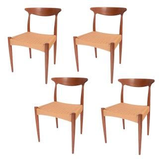 Arne Hovmand Olsen for Mogens Kold, Teak and Cord Dining Chairs - Set of 4 For Sale