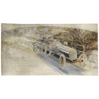 Gamy French Automobile Lithograph, Hand-Colored Majola Auto Circa 1913 For Sale