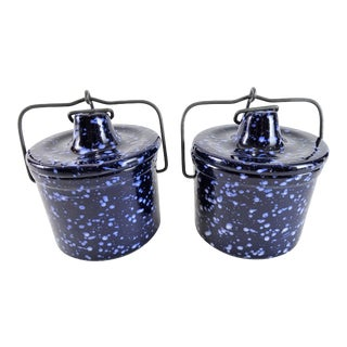 Cottage Blue White Speckle Stoneware Crocks - a Pair For Sale