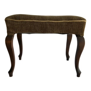 Farmhouse Vintage Stool Velvet Earth Green For Sale