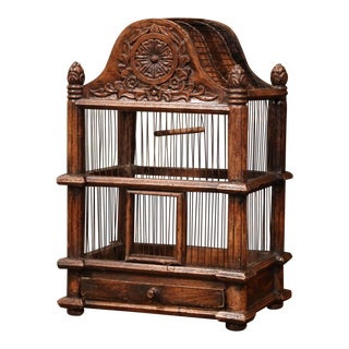 French Carved Walnut and Wire Birdcage With Arched Top For Sale