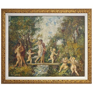 """The Garden"" Oil Painting on Canvas by Herman Lipot, 20th Century For Sale"