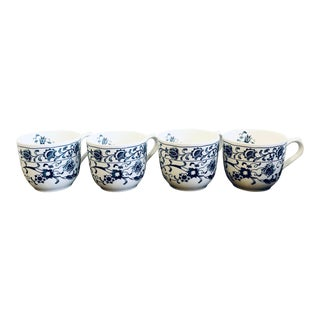 Vintage Shabby Chic Nikko Ironstone Blue Floral Cups - Set of 4 For Sale