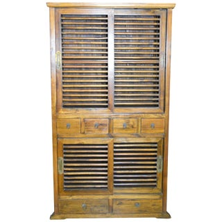 19th Century Dutch Colonial Armoire With Fretwork Sliding Doors and Drawers For Sale