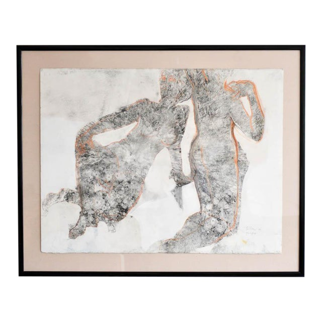 Abstract Charcoal and Pencil 'Yin and Yang' Drawing by Bernice Riley For Sale