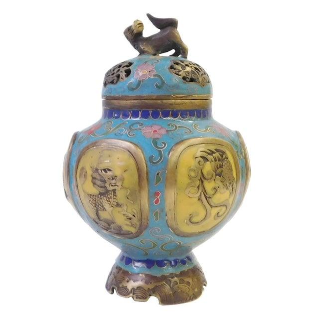 Vintage Chinese Metal Enamel Cloisonne Burner For Sale