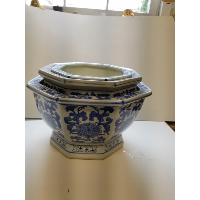 Chinese octagonal blue white flower pots cachepots set of 3 chinese octagonal blue white flower pots cachepots set of 3 image 4 of mightylinksfo