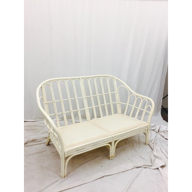 Vintage Rattan Love Seat Sofa For Sale - Image 4 of 9
