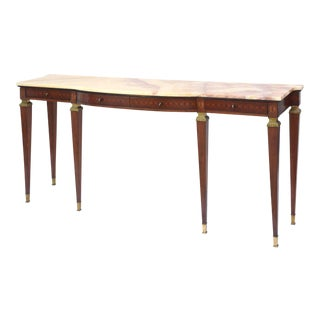 Pair of Italian Modern Walnut and Fruitwood Marquetry Inlaid Onyx Top Consoles For Sale