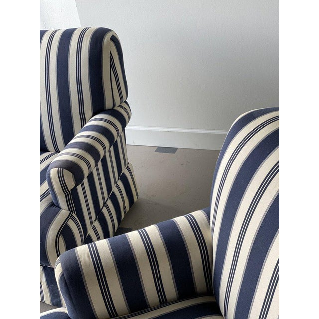 Late 20th Century Bridgewater Striped Upholstery Club Chairs - A Pair For Sale - Image 5 of 7
