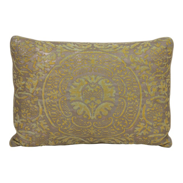 Fortuny Pillow in Acid Green and Grey For Sale