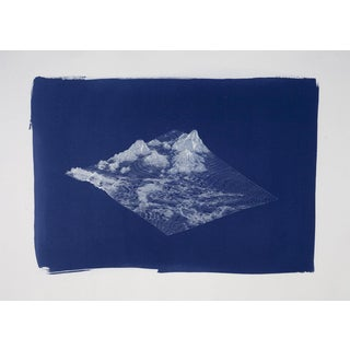 Digital Mountain Landscape Render, Large Cyanotype Print, 50x70 CM For Sale