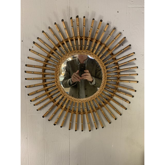 1950s French Mid Century Bamboo Starburst Mirror For Sale - Image 5 of 5
