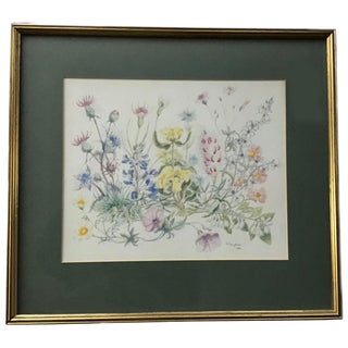 1980's Wild Flowers Watercolor by English Painter Dorothy Vaughan With Wood Gilded Frame For Sale