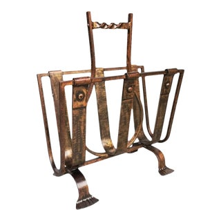 1950s French Wrought Iron Magazine Rack For Sale