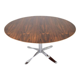 "Rosewood and ""Twisted"" Chrome Base Dining Table For Sale"