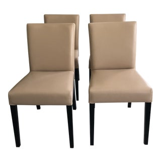 Contemporary Crate & Barrel Wood & Leather Dining Room Chairs - Set of 4