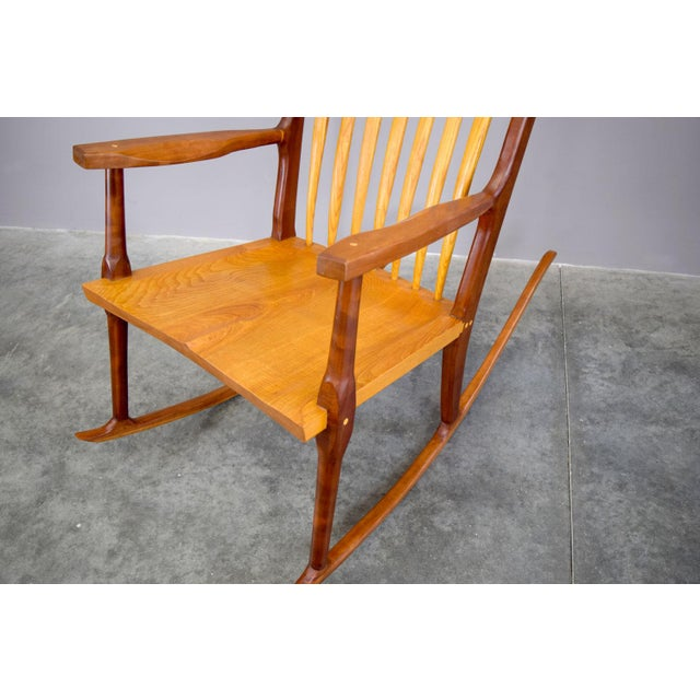 Ash Extraordinary Bench-Made Cherry Rocking Chair, Sam Maloof Style For Sale - Image 7 of 10