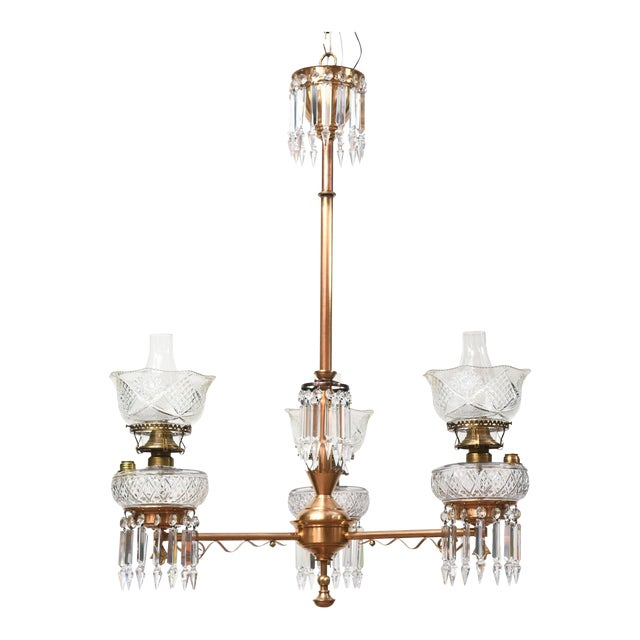 Three Light Aesthetic Movement Red Brass and Crystal Chandelier For Sale