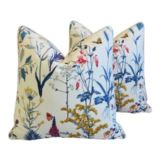 """Floral Wildflower Botanical Cotton & Linen Feather/Down Pillows 24"""" Square - Pair For Sale"""
