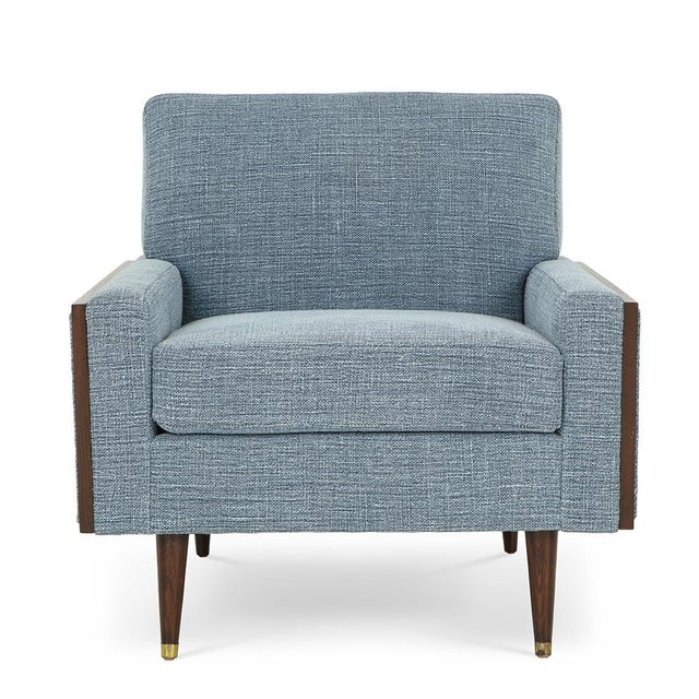 Mid-Century Modern Mid-century Modern Club Chairs With Walnut Frame 1950's - A Pair For Sale - Image 3 of 4