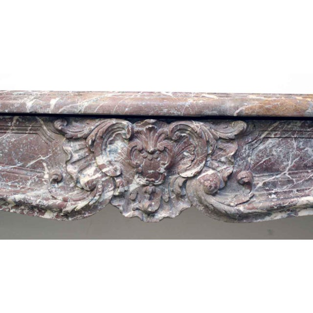 French French Louis XV Antique Marble Mantel For Sale - Image 3 of 10