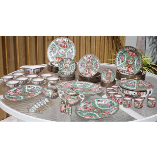 Incredible Collection of Vintage Chinese Rose Medallion Dinnerware - Made in Hong Kong - Set of 72 Preview