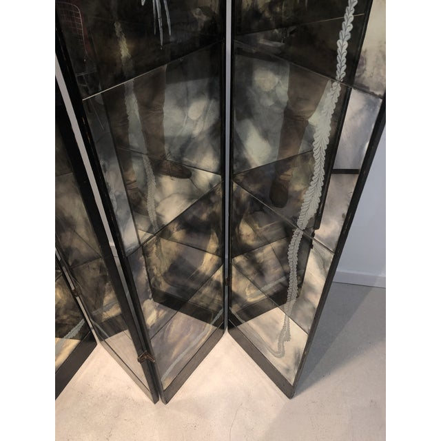 Vintage Four Panel Mercury Mirror Folding Screen For Sale - Image 4 of 13