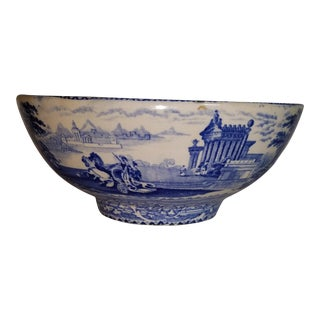 Arcadian Chariots Blue & White Transfer Ware Soft Paste Bowl 19th C. For Sale