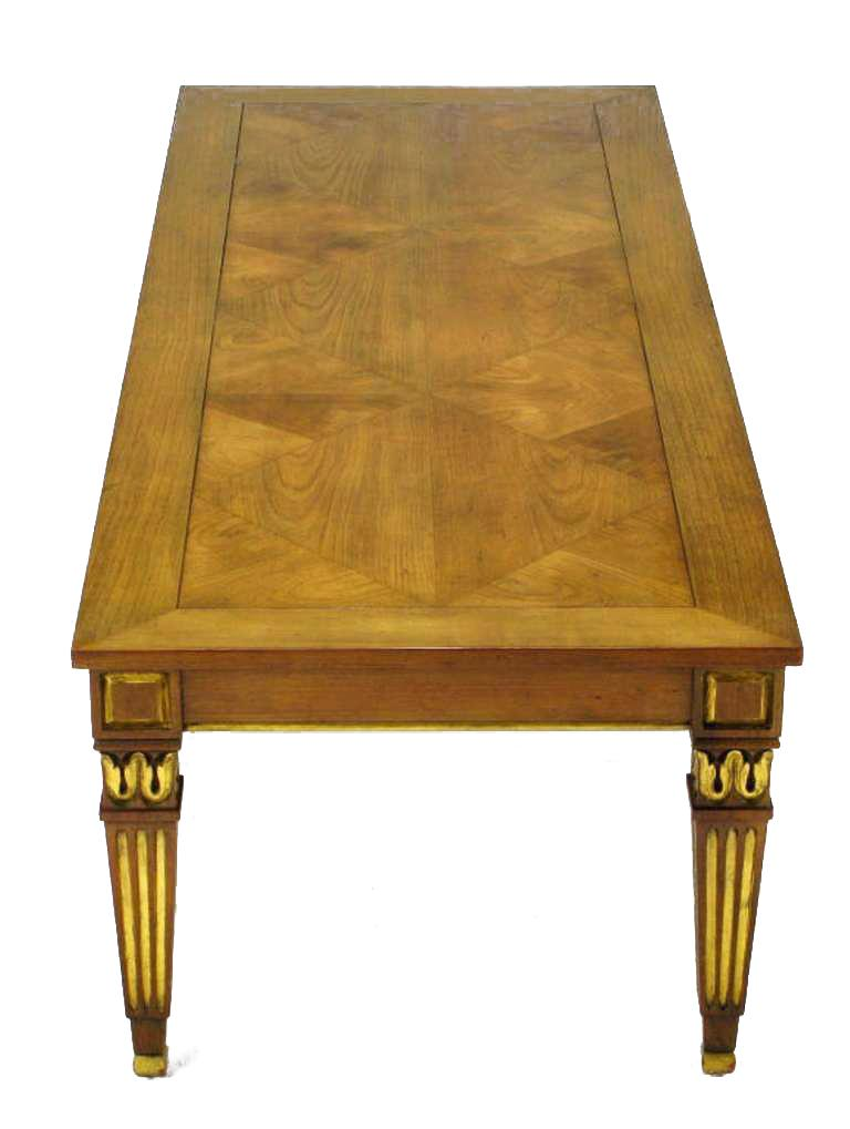 Baker Furniture Company Louis XVI Style Parcel Gilt Parquetry Top Coffee  Table By Baker Furniture Company