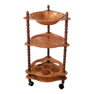 Vintage Faux Woven Wood Rolling Bar Cart . For Sale