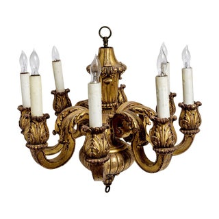 Exceptional French Gilt Wood 8 Candle Arm Chandelier