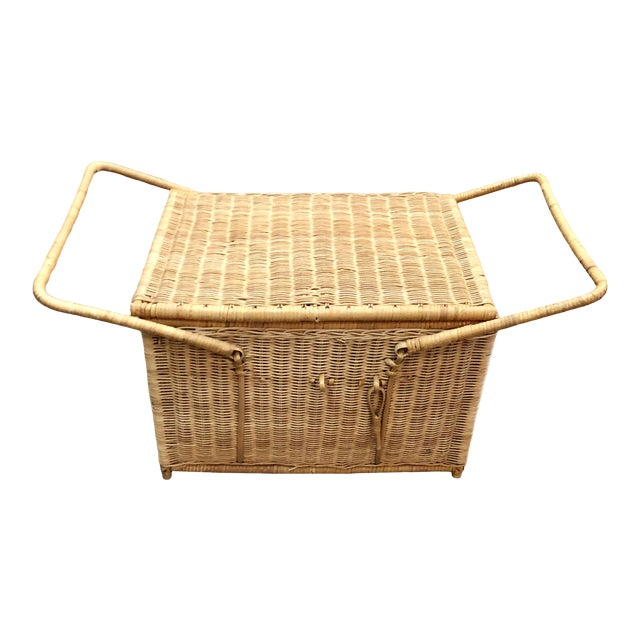 French Rattan Picnic /Trunk Basket For Sale