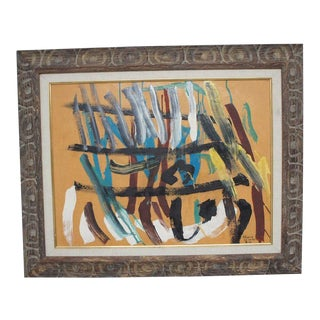 Vintage Abstract Painting in Carved Frame For Sale