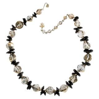 Vendome Necklace 1960s Vintage Black & Bronze Glass Crystal Beads For Sale