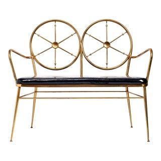 Chiavari Brass 'Wheelhouse' Bench ca. 1950 For Sale