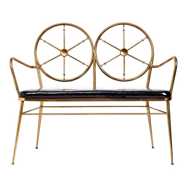 Chiavari Brass 'Wheelhouse' Bench ca. 1950 For Sale