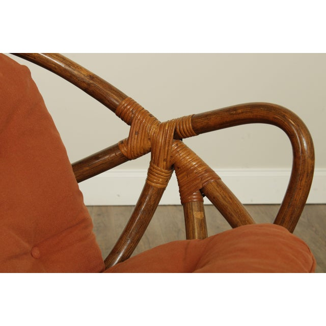 Mid Century Pair Rattan Swivel Rocking Lounge Chairs For Sale - Image 11 of 13