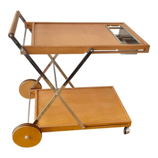 1970's Mid Century Modern Vintage Wooden Foldable Bar Cart With Metal Insert For Sale