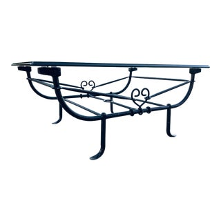 1980s Mid-Century Modern Wrought-Iron Etruscan Coffee Table Attributed to Giacometti For Sale