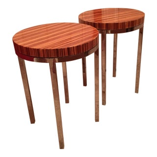 Zebrawood & Chrome Modernist End Tables Pair