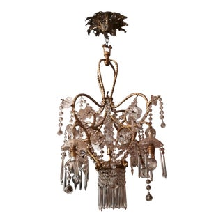 C1932 French Baccarat Crystal/ Bronze Rope Twist Chandelier For Sale