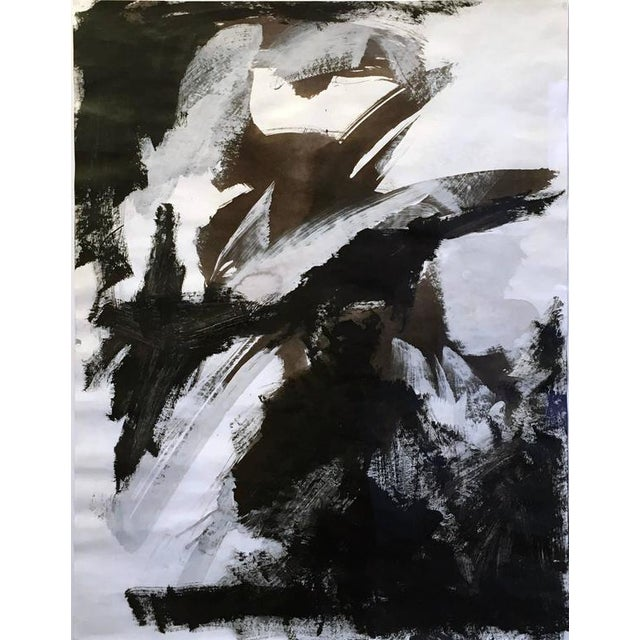 Stephanie Cate Stephanie Cate Abstract Europa 30 Study Black and White Acrylic Painting on Paper For Sale - Image 4 of 7