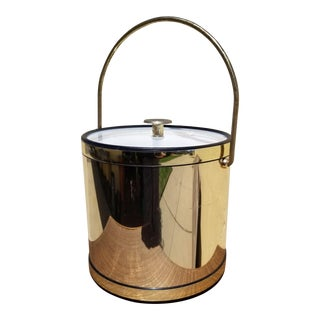 Vintage Mid-Century Gold Finished Ice Bucket by Kromex Kraftware For Sale