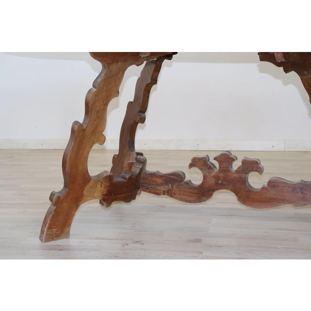 Italian 20th Century Italian Fratino Walnut Wood Oval Table With Lyre-Shaped Legs For Sale - Image 3 of 9